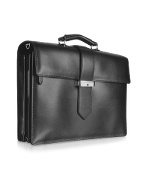 Class - Menand#39;s Black Leather Triple-Gusset Briefcase