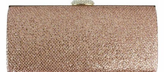 Diamond Sparkle Evening Clutch Bag Wedding Party Metallic Gold Silver Pink White - Champagne - W 8.5 ,H 5 ,D 2 inches
