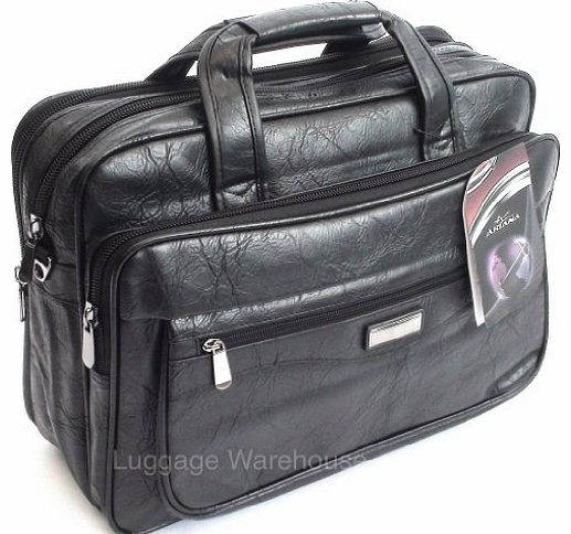 15.6`` Black Laptop Briefcase Messenger Bag with Shoulder Strap & Carry Handles, Leather Feel