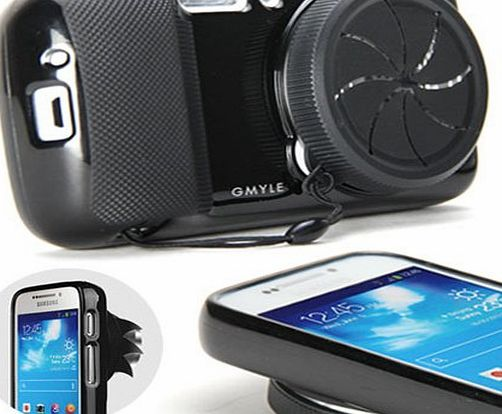 GMYLE R) Black TPU Protective Soft Case with Camera Lens Cover for Samsung Galaxy S4 Zoom SM-C1010, SM-C101