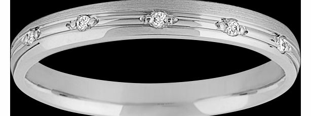 Goldsmiths 3mm ladies wedding ring in 18 carat white gold -