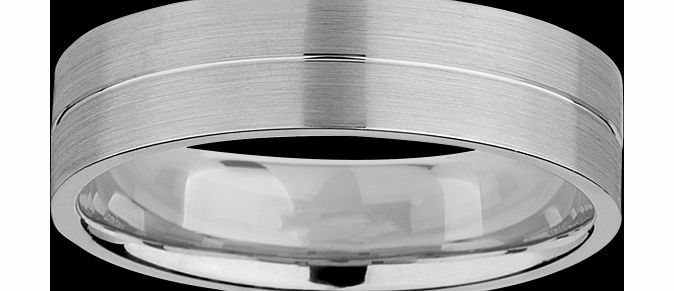 Goldsmiths 6mm gents ring in 950 palladium - Ring Size Q