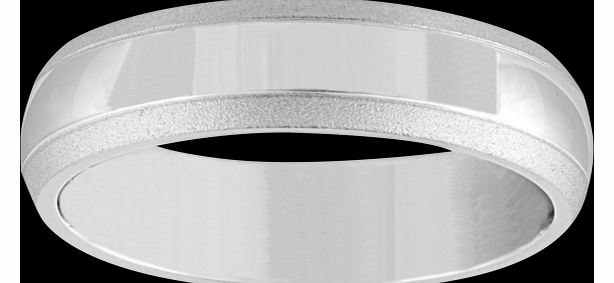 Goldsmiths 6mm gents wedding band in 18 carat white gold -
