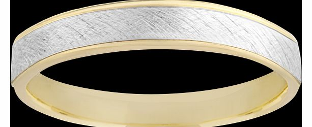 Goldsmiths Gents bi colour fancy wedding band in 9 carat bi