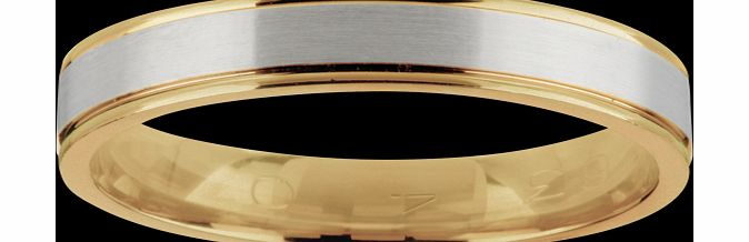 Goldsmiths Gents wedding band in 18 carat white and yellow