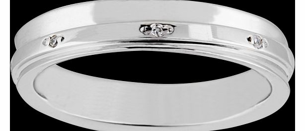 Goldsmiths Ladies diamond set 4mm fancy wedding ring in 18