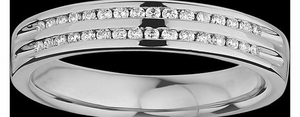 Goldsmiths Ladies double row diamond set wedding ring in 9