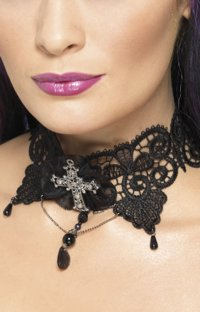 Lace Choker with Jewelled Cross