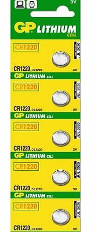 5 X GP CR1220 3V lithium Batteries