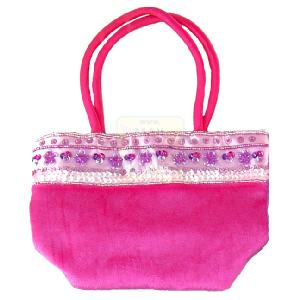 Great Gizmos Pink Poppy Hot Pink Velour Bag