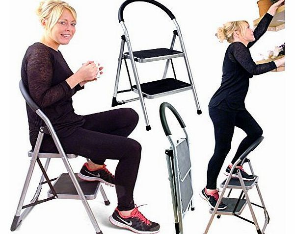 Great Ideas Folding Two Step Ladder Chair - Stepladder That Is Also A Stool - Extra Wide Deep Rubber Lined Treads
