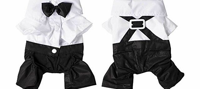 Greencolourful Hot 4 sizes Dog Pet Puppy Clothes Tuxedo Shirt Suit Bow Tie Stylish Wedding Apparel
