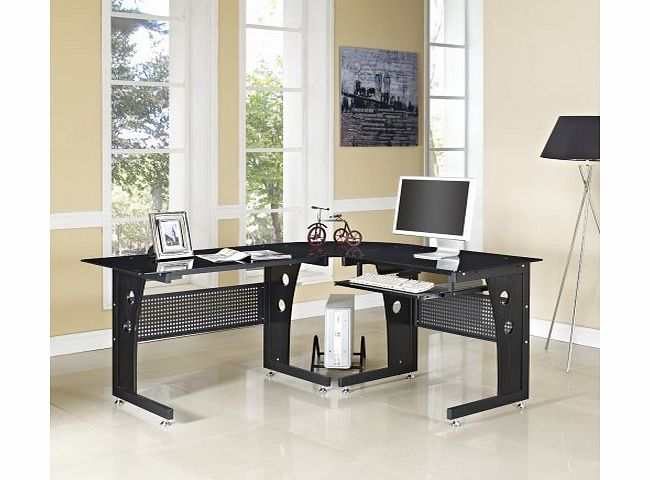GRS COMPUTER DESK HOME OFFICE FURNITURE PC TABLE BLACK