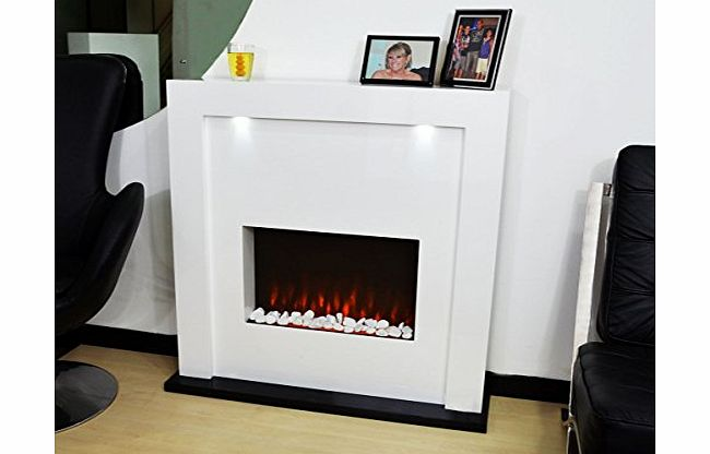Guaranteed4Less NEW DESIGNER FREE STANDING ELECTRIC FIRE FIREPLACE WHITE MDF SURROUND LED LIGHTS