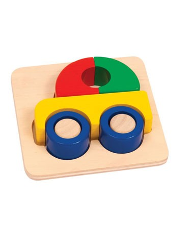 Guidecraft Bright Primary Colour Wooden Car Puzzle