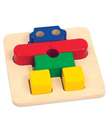 Guidecraft Bright Primary Colour Wooden Robot Puzzle