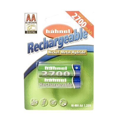 2700mAh AA NiMh Batteries - Twin Pack