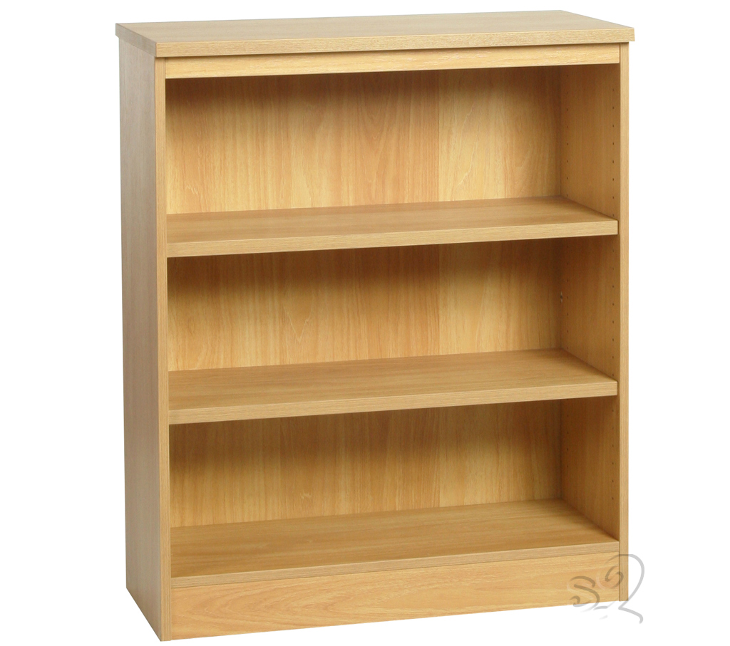 Beech Wide Bookcase with 2 shelves