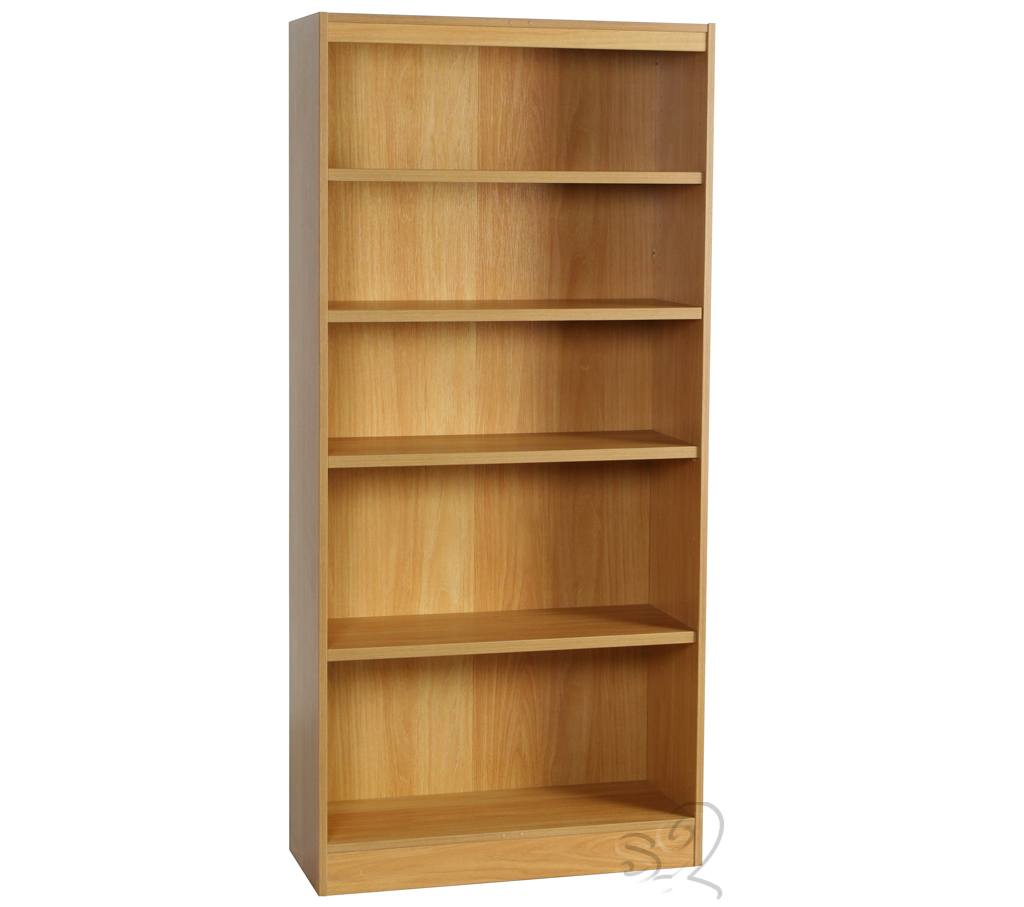 Beech Wide Bookcase with 4 shelves