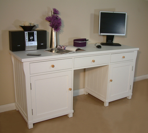 Twin Pedestal Hidden Computer Desk