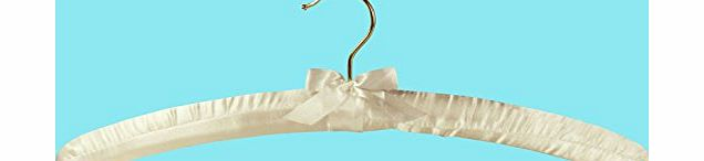 HANGERWORLD A SINGLE QUALITY PALE IVORY PADDED SATIN COAT HANGER For Dresses, Lingerie, Bridal wear, Woolens etc - 43CM - GIFT PACK