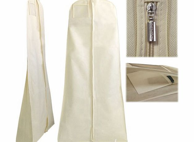 HANGERWORLD Breathable Wedding Gown Dress Garment Clothes Cover Bag 72`` Zip with SECRET INTERNAL ZIPPED POCKET