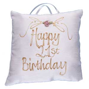 happy 21st Birthday Hand Painted Silk Pillow