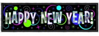 New Year - Giant Metallic Sign Banner 1.65m