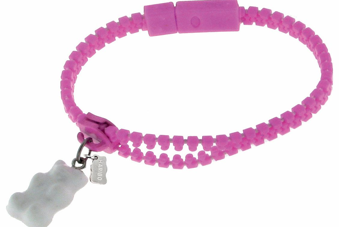 Pink Zipper Style Bracelet With White Haribo