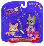Littlest Pat Shop Dog Days #183 #184 Corgi with Lead and Great Dane With Roller Skates