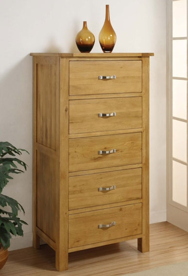 Oak 5 Drawer Wellington Chest Of Drawers