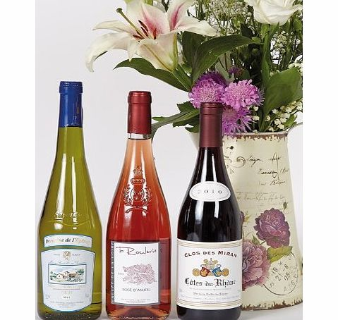 French wine trio in wooden box - Three bottle wine gift in wood - white, rose and red wines