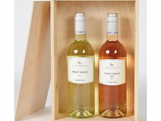 Hay Hampers Italian wine duo in wooden box - Two bottle white and red wine gift box