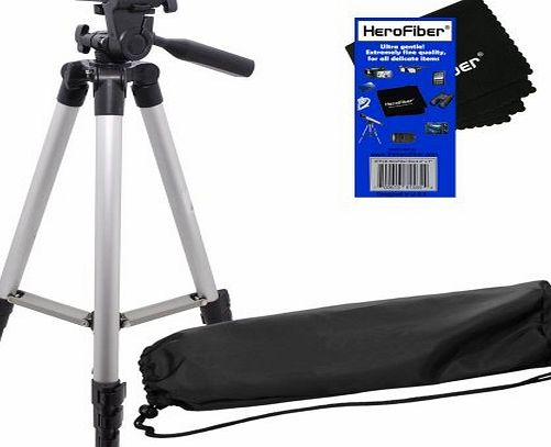 50``/127 Cm Light Weight Aluminum Photo/Video Tripod & Carrying Case for Olympus Evolt E300, E330, E410, E420 E450, E500, & E520 Digital Cameras w/ HeroFiber® Ultra Gentle Cleaning Cloth
