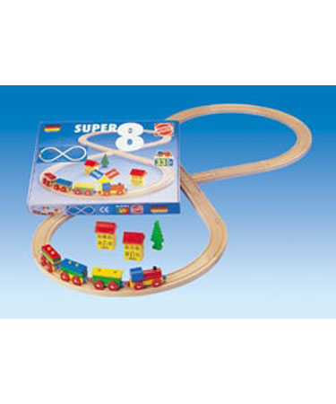 Heros Wooden Toys 32 pc WOODEN TRAIN SET.
