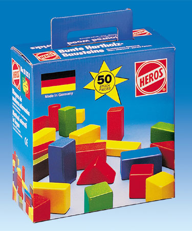 Heros Wooden Toys 50 pc COLOURED BUILDING BLOCK SET