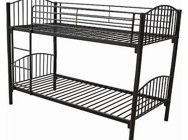 3ft Single Metal Twin Bunk Bed Sleeper Double Bed Children Kids Furniture Frame Black