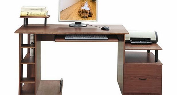 Homcom Computer PC Office Table Desk Desktop Home Writing Workstation Filing Cabinet Walnut/Brown 2014 NEW BY HOMCOM