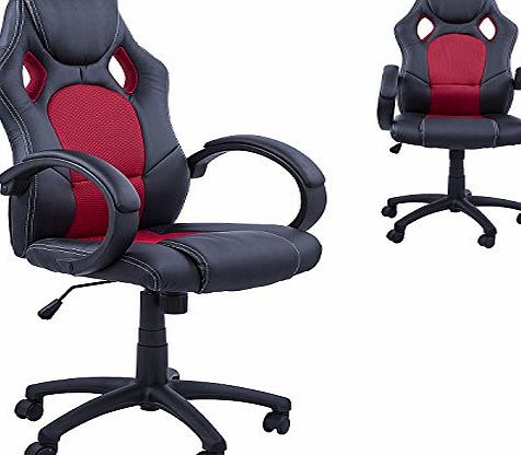 Racing Gaming Sports Chair Swivel Desk Chair Executive Leather Office Chair Computer PC chairs Height Adjustable Armchair (Black-Red)