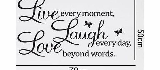 ``Live every moment,Laugh every day, Love beyond words.`` with 2x butterfly wall quote art sticker decal for home bedroom decor corp office wall saying mural wallpaper birthday gift for boys and girls