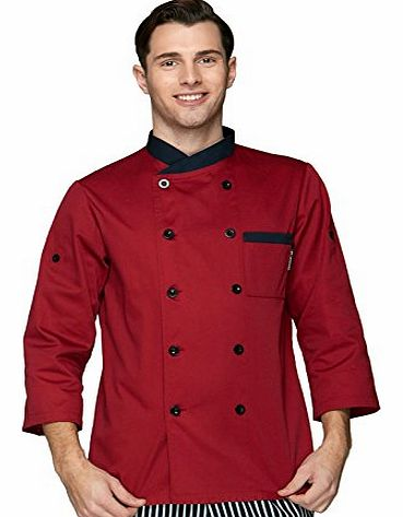 Chefs Apparel Red wine designer chefs jackets long sleeve chef uniforms Down to normal long sleeve, roll up to short sleeve U135T0100D(6 sizes available) (L Bust 110cm/43.5`` Waist 110cm/42.5``)
