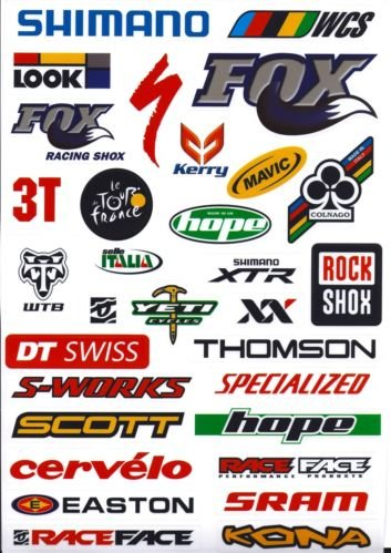 25 x Outdoor Bicycle Cycling Mountain Bike Skateboard Decal Stickers *1 Sheet UK