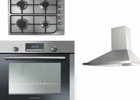 Hoover Built-in Multi Function Oven HOC709/6X, 4 Burner Gas Hob HGL64SC and HECH616X 60cm Stainless Steel Chimney Hood