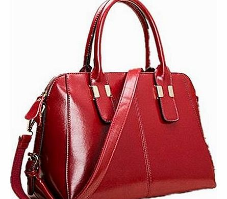 Women Vogue Real Genuine Leather Hobo Ladies Shoulder Bag Purse Handbag (wine red)