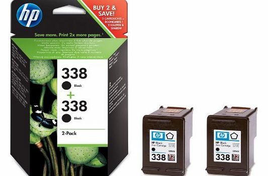 338 - 2-pack Black Inkjet Print Cartridges (CB331EE)
