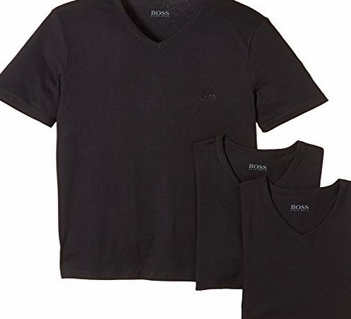 3-Pack Cotton Classic Loose Fit V-Neck T-Shirts, Black Size: