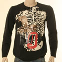 Black with Cream & Gold Bone Design Long Sleeve T-Shirt - Red Label