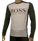Grey and White Long Sleeve Logo T-Shirt (Green Label)