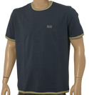 Ink Blue Short Sleeve Cotton Mix T-Shirt With Grey Trim