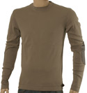 Taupe Long Sleeve T-Shirt with Brown Elbow Patches